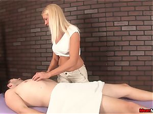 mummy tickles scanty guy While jacking His shaft